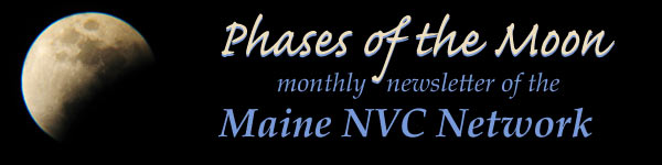 Phases of the Moon, monthly newsletter of Maine NVC Network, with image of moon in partial eclipse